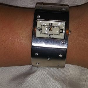 Vintage Silver ladies Watch Mother of pearl Works!